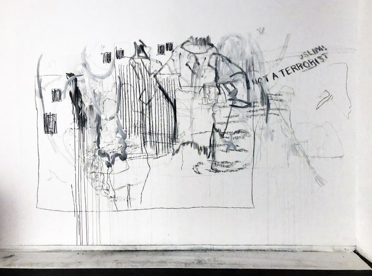 Sa'dia Rehman   ,  drawing residue,  The Story of the Tracings of all the Persons Before Us and After Them , 2018, 30 minutes performance at Alwan for the Arts, NYC
