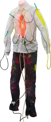 Die Letzte Seele, 2013, 50cm x 35cm x 200cm, textile, injections, tubes, cable, ink, dressmaker's dummy, glitter and rgb-leds