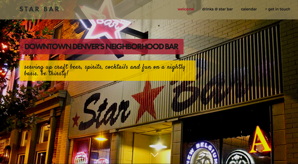 Star Bar Denver Website
