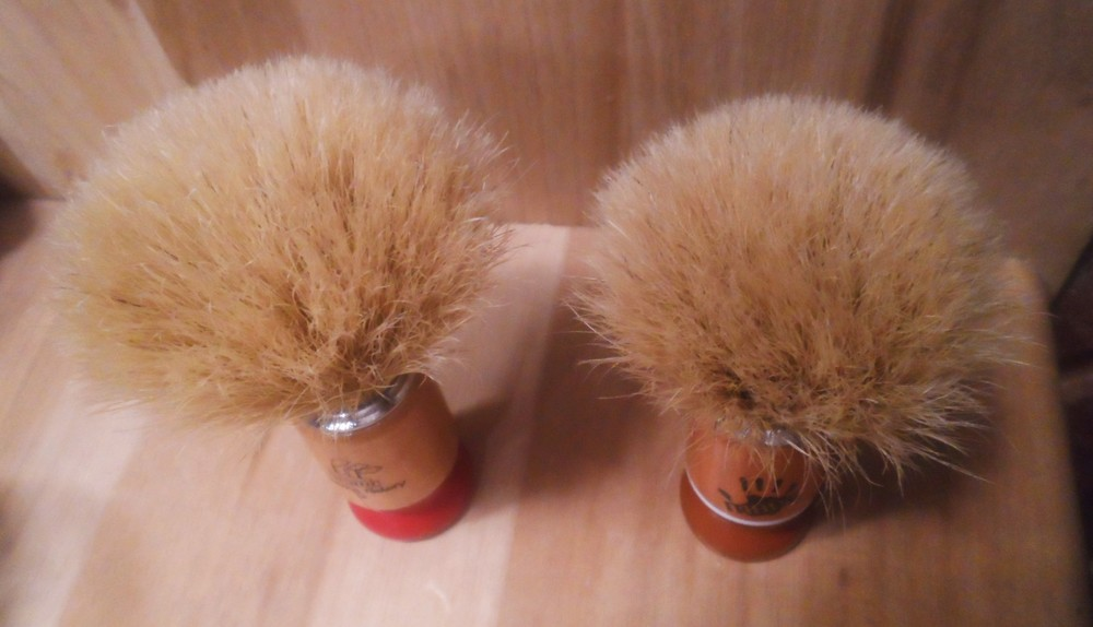 Shave Factory Medium and Small Boar Shaving Brushes (Post-Wash & Conditioning) Top View