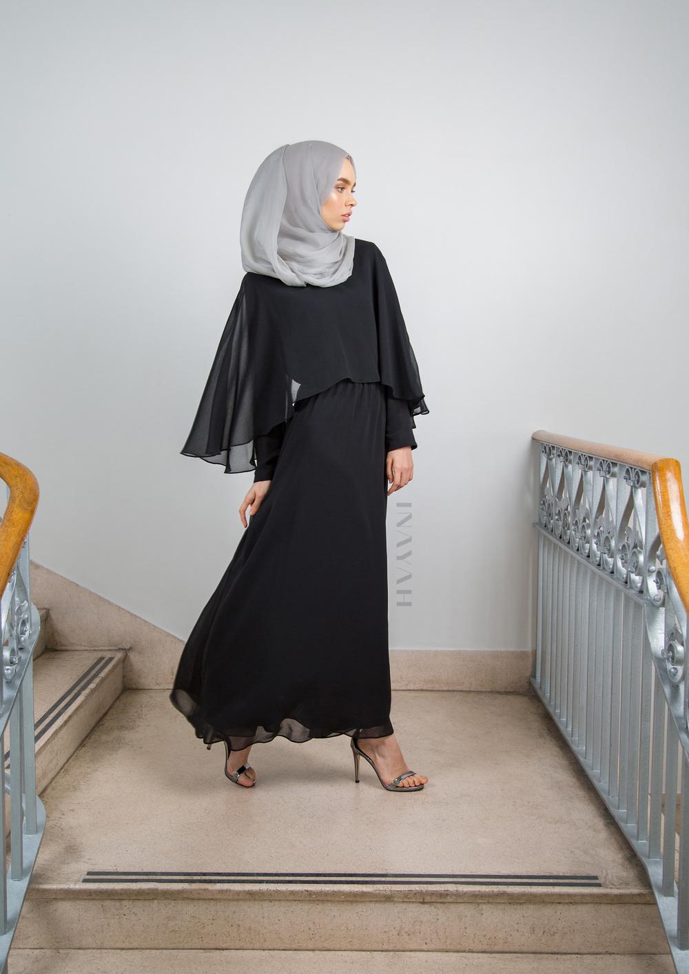 Black Cape Maxi Dress