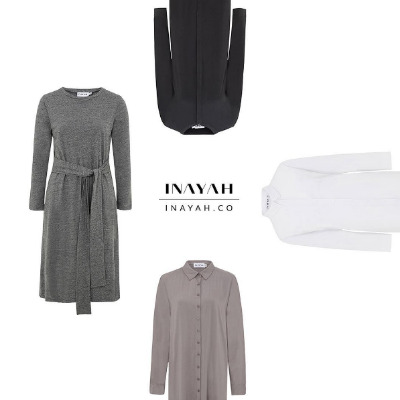 Charcoal Cotton Blend Belted Midi     Black Dipped Hem Midi Shirt     White Batwing Sleeve Shirt     Grey Oversized Shirt with Slits