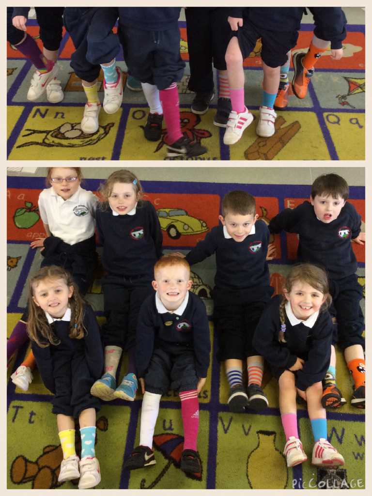 On Monday children were encouraged 'toe' the line and  wear odd socks to school and donate £1 to the Integrated Education Fund.  As you can see P2/3 were willing participants and enjoyed every crazy moment!!