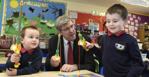 The Education Ministervisiting the P1 childrenduring histour of the schoolon Wednesday 11th March 2015.