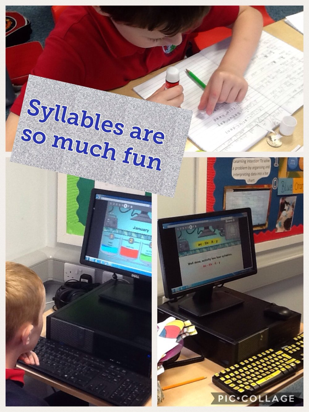 Today we are all about the syllables. We have used different techniques to learn about syllables.... did you know if you place the palm of your hand under your chin while you say a word, that the amount of times your hand moves is the amount of syllables a word has. Why not give it a go!!  Check out our useful links as there is a great game we have been playing in class to help us with our syllables.