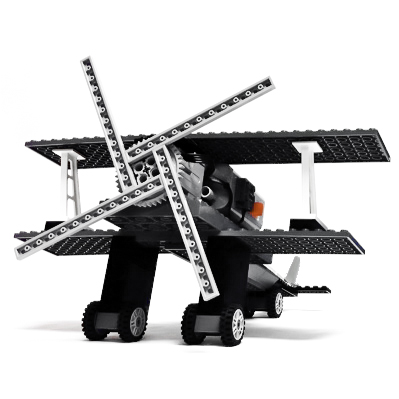 Motorized bi-plane designed by Teo Lee with common LEGO® pieces.