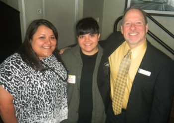 FC Co-Chairs Liz Rodriguez and Chris Lindsey with speaker Jeydon Loredo at the FC Summer Luncheon