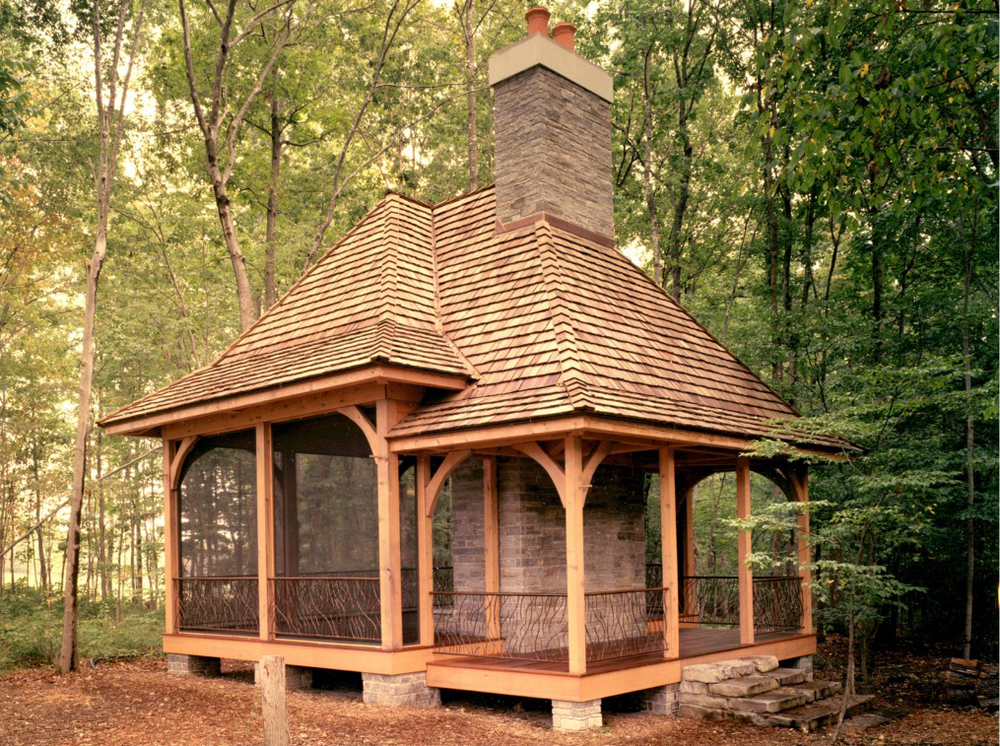 Masonry landscape architecture custom stonework for Plans for gazebo with fireplace
