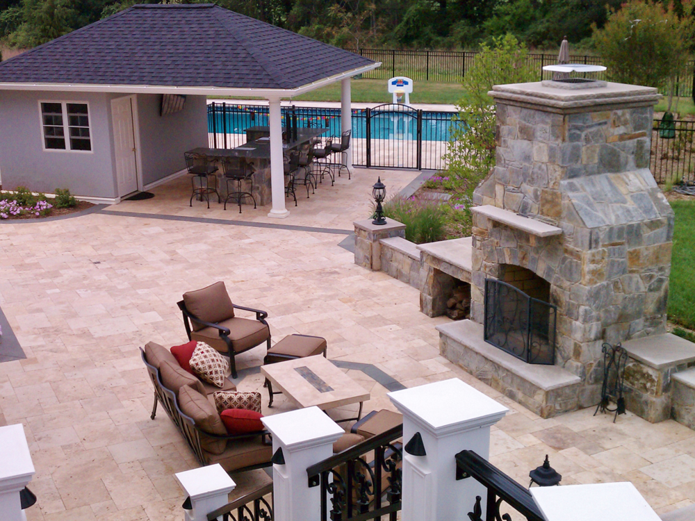 Glenelg Residence Stone Fireplace & Patio