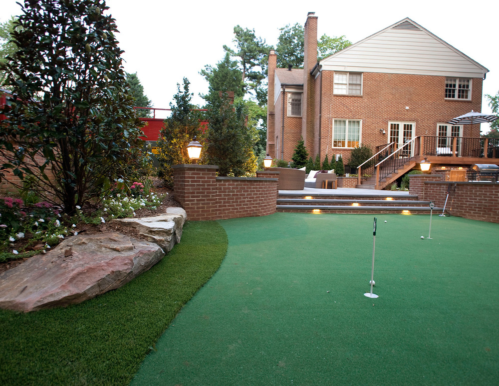 New putting green and patio