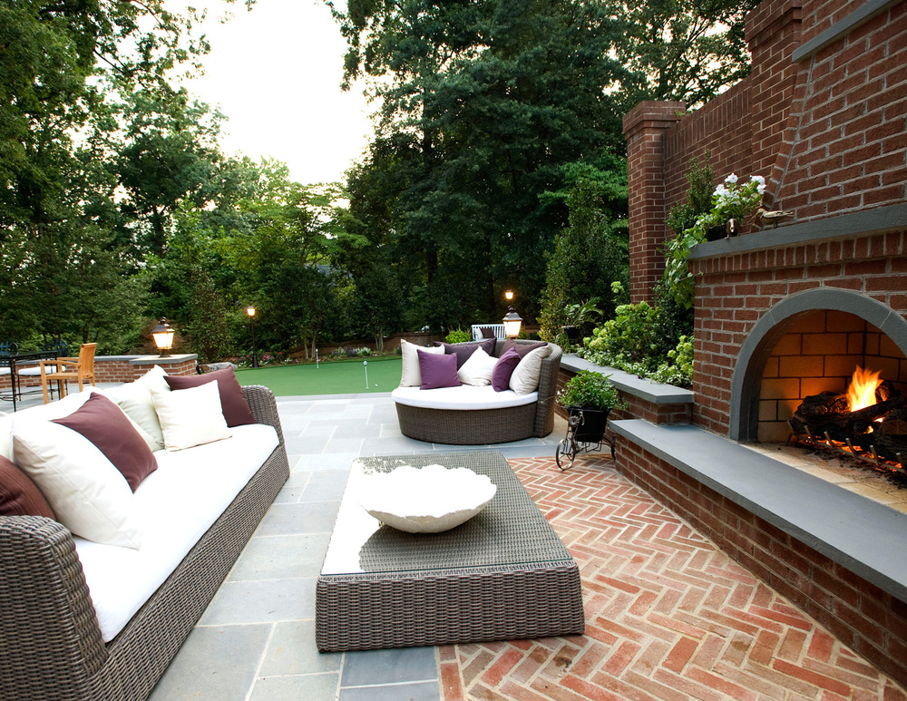 Custom fireplace and paving