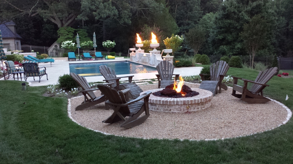 Finished Pool and Landscape from Firepit