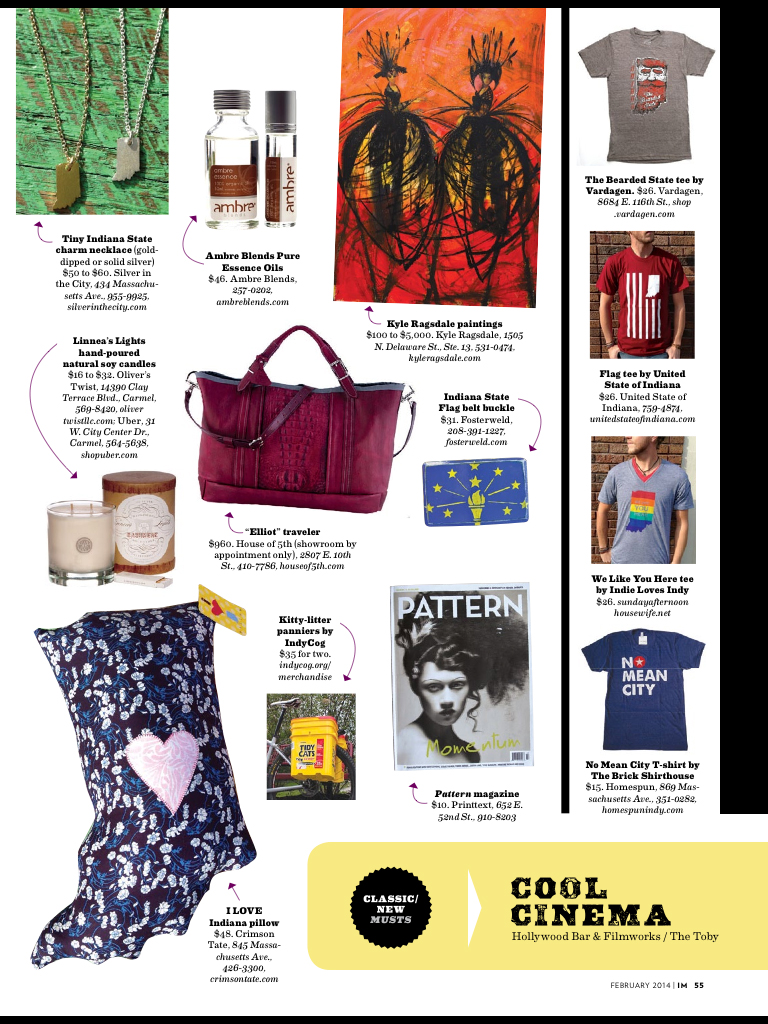 Elliot Traveler  featured in  Indianapolis Monthly  along with our friends  Pattern Magazine .