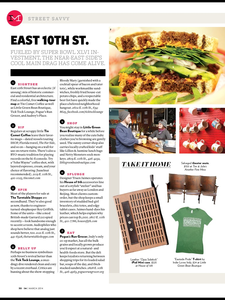 Opia Sidekick  (Smalls) featured in the March issue of  Indianapolis Monthly