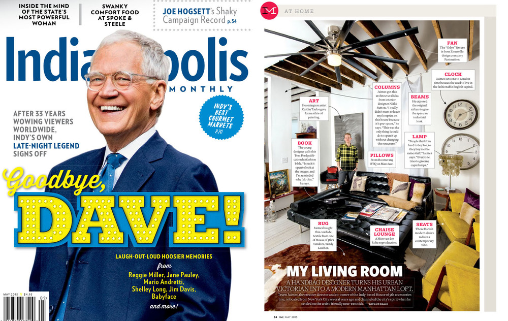 The new P.S. F*U backpack & Dexter Sidekick both make an appearance in the  Indianapolis Monthly  feature of our Creative Director's modern Midwest home.