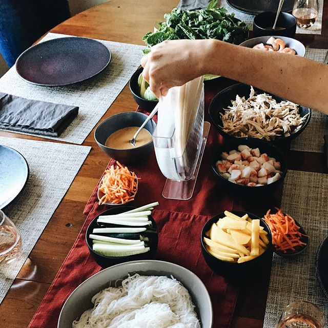 Summer dinner party idea: salad rolls. Spread out some fillings on the table and eat until you can't eat any more. My favorite combo from last night was Shrimp, mango, Basil, mint, chili paste and peanut sauce (from the @moosewood_restaurant cookbook...it's so good, y'all).