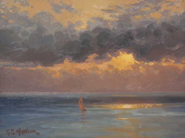 Red Sail at Sundown  |  Oil on linen, 9 x 12 in.  |  Available