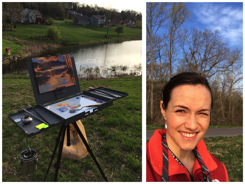 Squinting into the sun while painting my first piece at Augusta during a sunrise. Note the major easel upgrade—it's a Strada easel and I am thrilled with it.