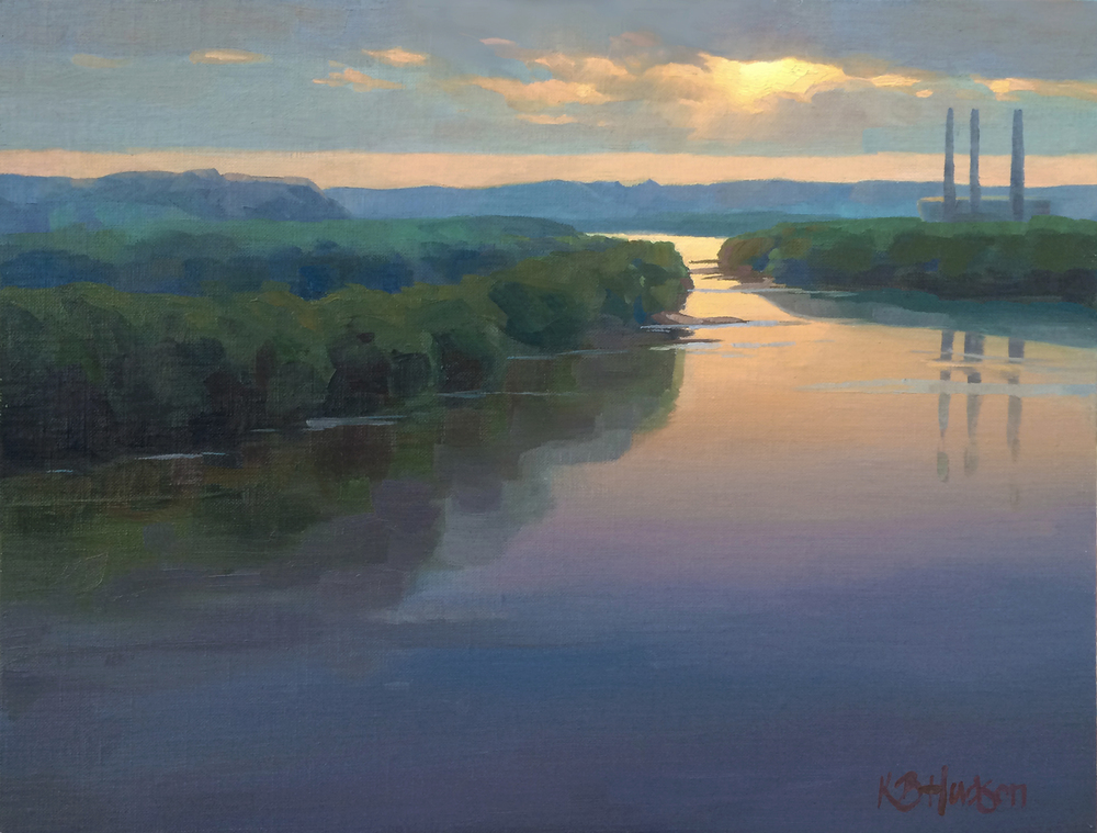 Sunrise Over the Missouri , Oil on linen, 12 x 16 in.  |  Private Collection