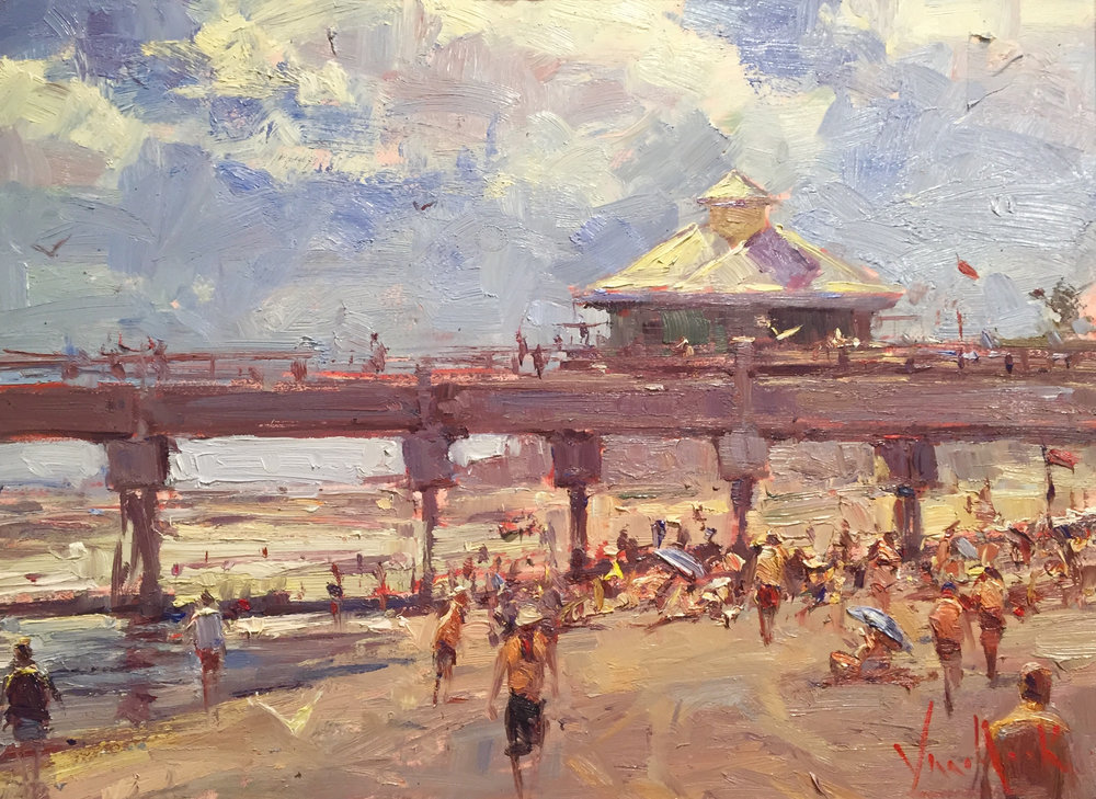 """At the Pier,"" by George Van Hook, 2016, oil, 12 x 16 in. Grand Prize"