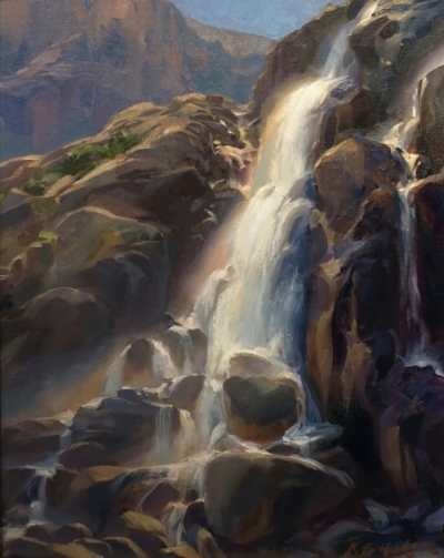 "Bright Morning, Timberline Falls,"" by Kathleen B. Hudson, 2016, oil, 18 x 14 in. Third Place"
