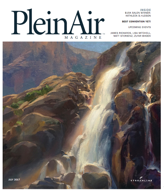 Bright Morning, Timberline Falls  on the July 2017 cover of  PleinAir Magazine