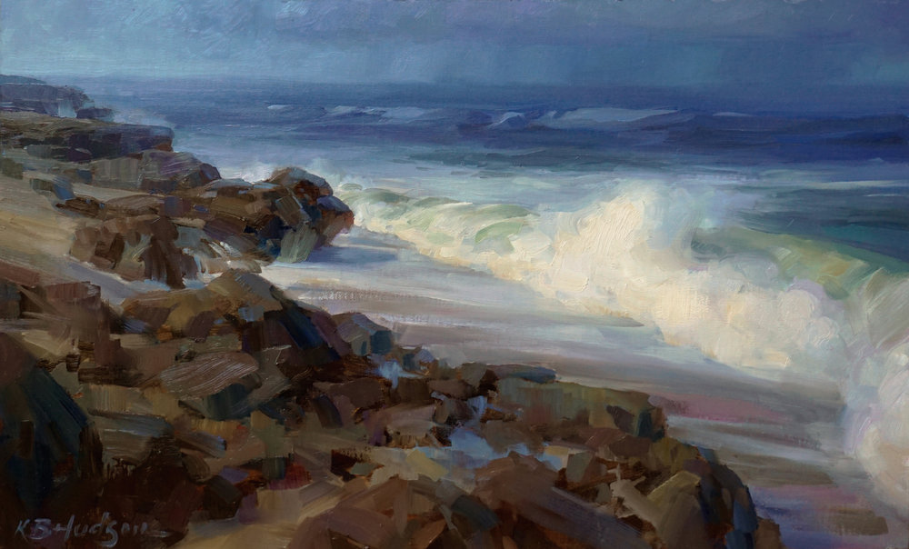 Rolling Surf  (2018)  |  Oil on linen panel, 13 x 21 in.  |  Third Place, Lighthouse Plein Air Festival  |  Available