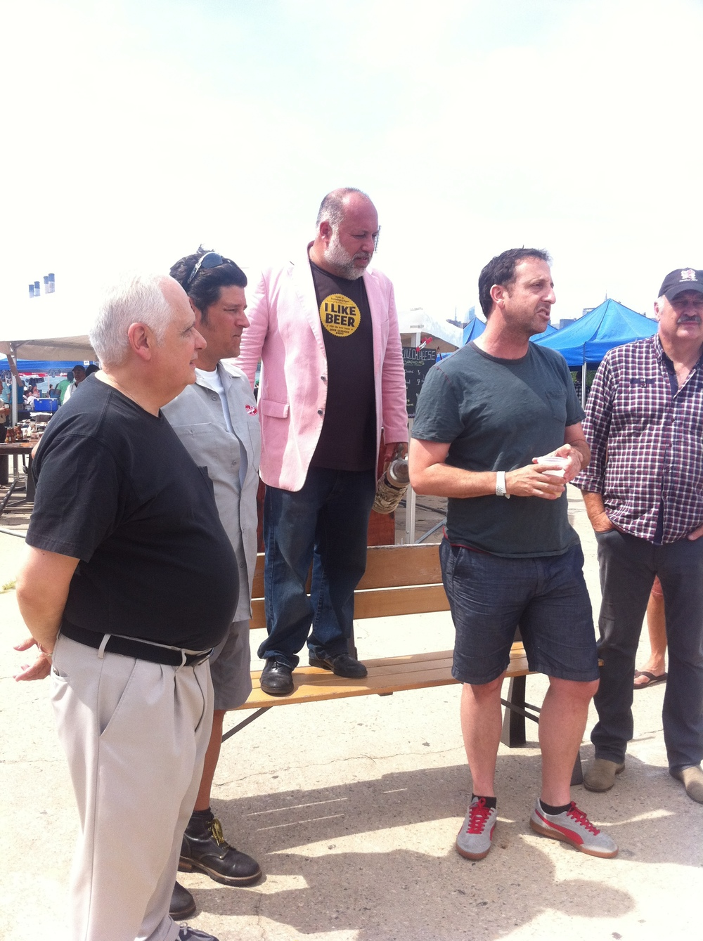 Jimmy Carbone (center, pink blazer) awarding some NY craft beer VIPs. Can you name them?