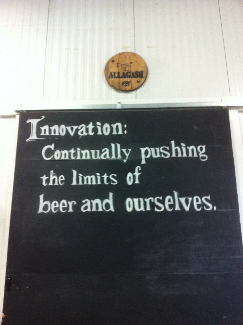 Wise words in the Allagash Brewery, Portland
