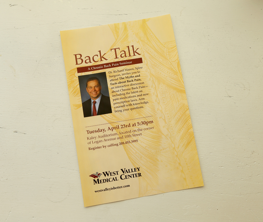 Ad for a chronic back pain seminar. Client: West Valley Medical Center.