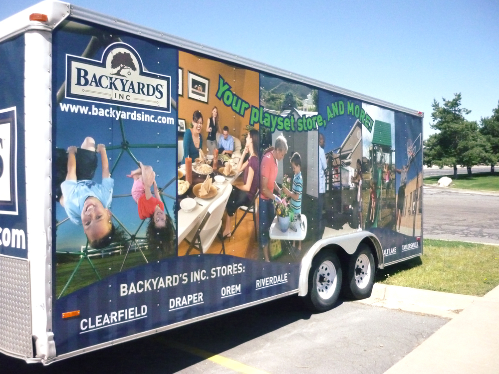 This is a trailer wrap I designed for Backyards Inc., Lifetime Products' retail store. It is definitely attention grabbing.