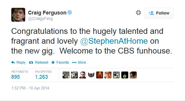 Craig Ferguson congratulates @StephenAtHome