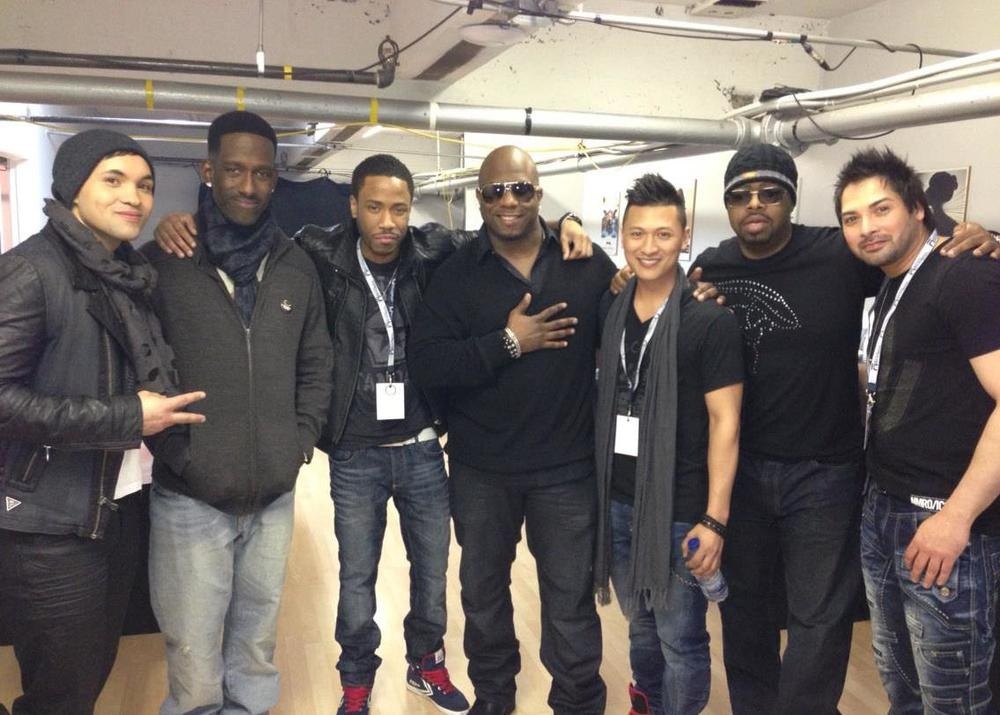 Lucas Teague with Boyz II Men backstage. Left to Right: Lex, Shawn, Greg, Wanya, Richard, Nathan, Pete