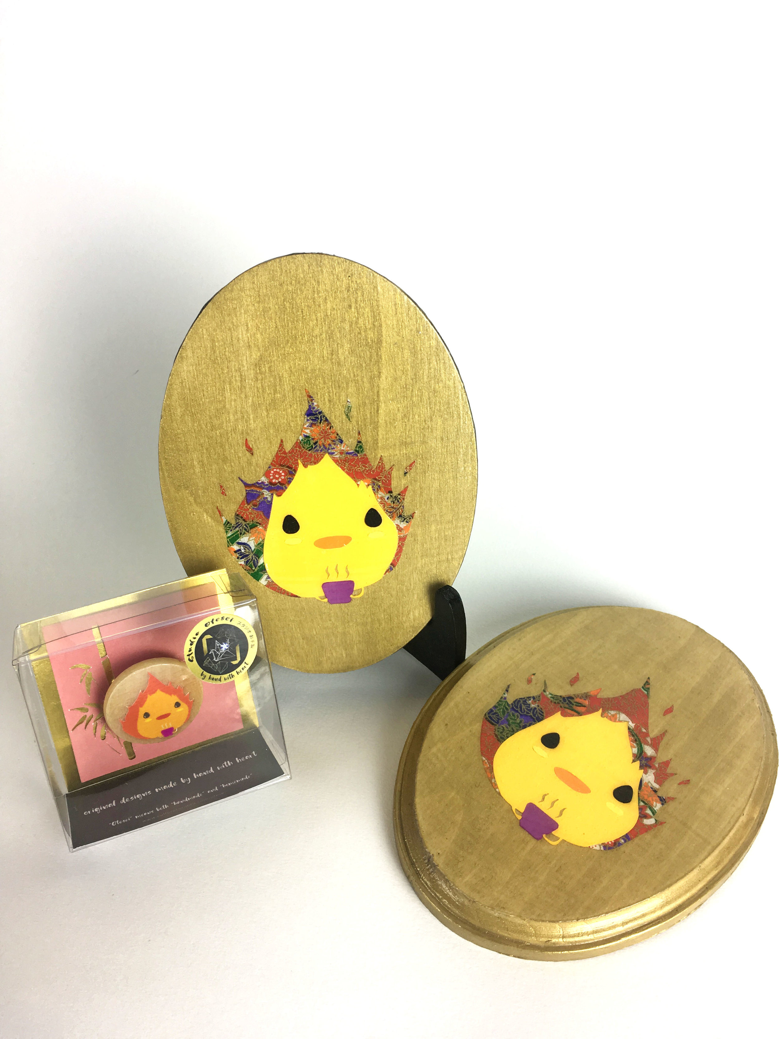 Studio Ghibli Calcifer from Howl\'s Moving Castle Golden Wooden Wall ...