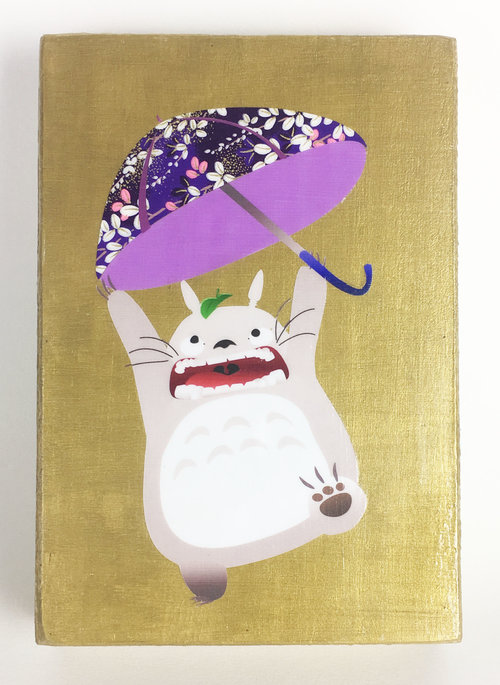 Studio Ghibli Totoro Golden Wooden Wall Hanging With Origami Paper Details