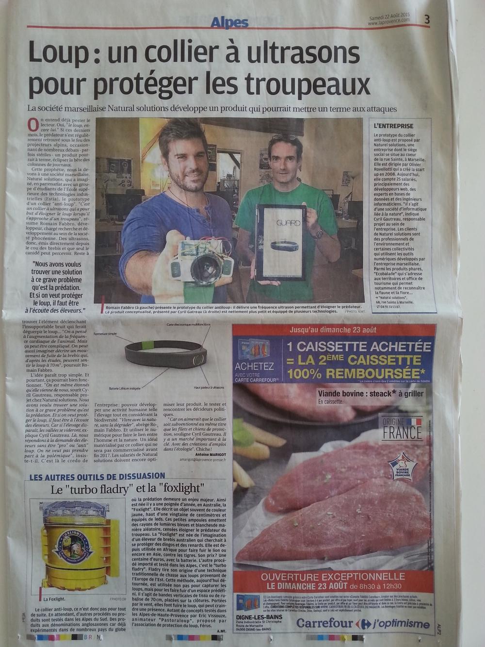 Article la Provence sur collier août 2015.jpg