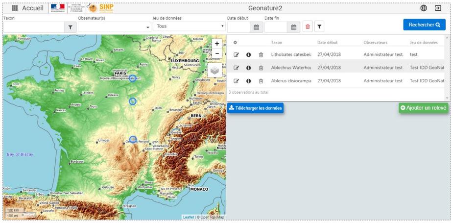 Geonature - module OccTax