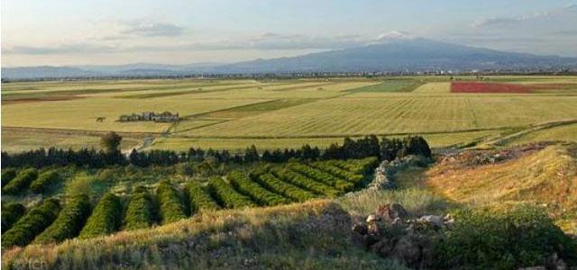 The scenery from Villa Aranjaya up to Mount Etna, Sicily
