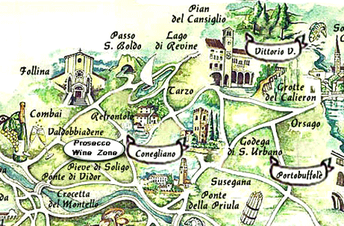 Prosecco Wine Zone map, from italiaoutdoors.com