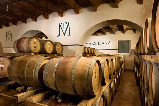 Wine cellar at Tenuta Marsiliana