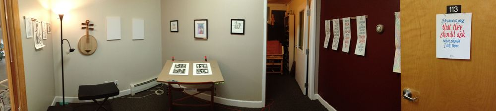 The front office of my art studio was converted into a gallery in June 2014.  I'll have a grand opening of the gallery sometime in July 2014.