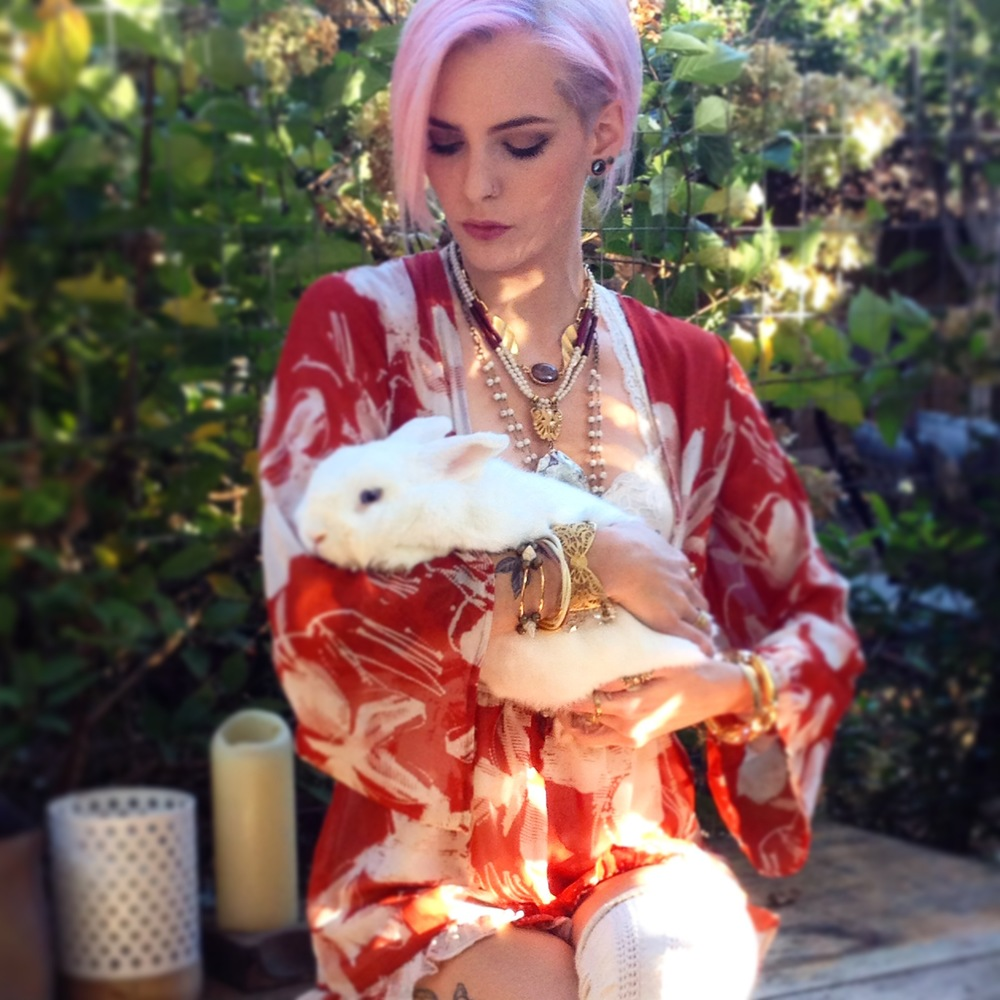 Model and Bou-Cou jewelry maker, Kayleen Scott, with Hushpuppy The Bunny