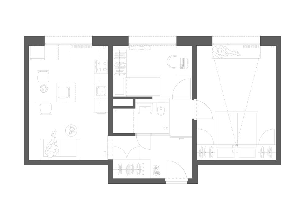 návrh 3kk - zvětšení prostoru předsíně a jeho prosvětlení přes koupelnu - zvětšení koupelny - pracovna/pokoj pro hosty - zvětšení kuchyně a propojení s obývacím prostorem - v ložnici sklopná postel umožňuje každodenní tancování - okno v knihovně s posezením na rozšířeném parapetu s výhledem ven