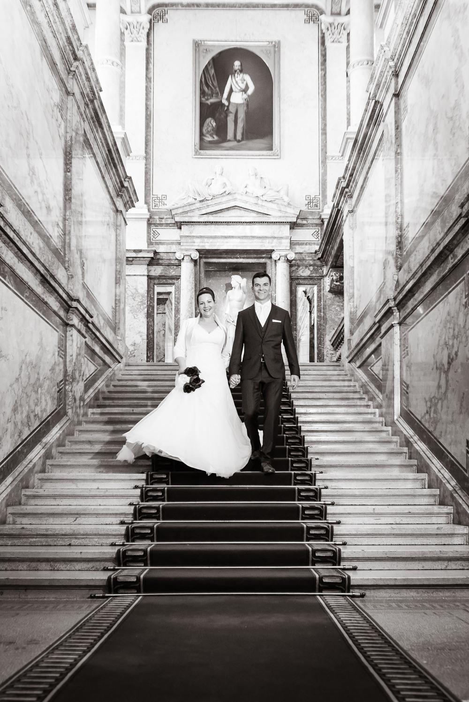 Das Brautpaar auf der Fürstenstiege