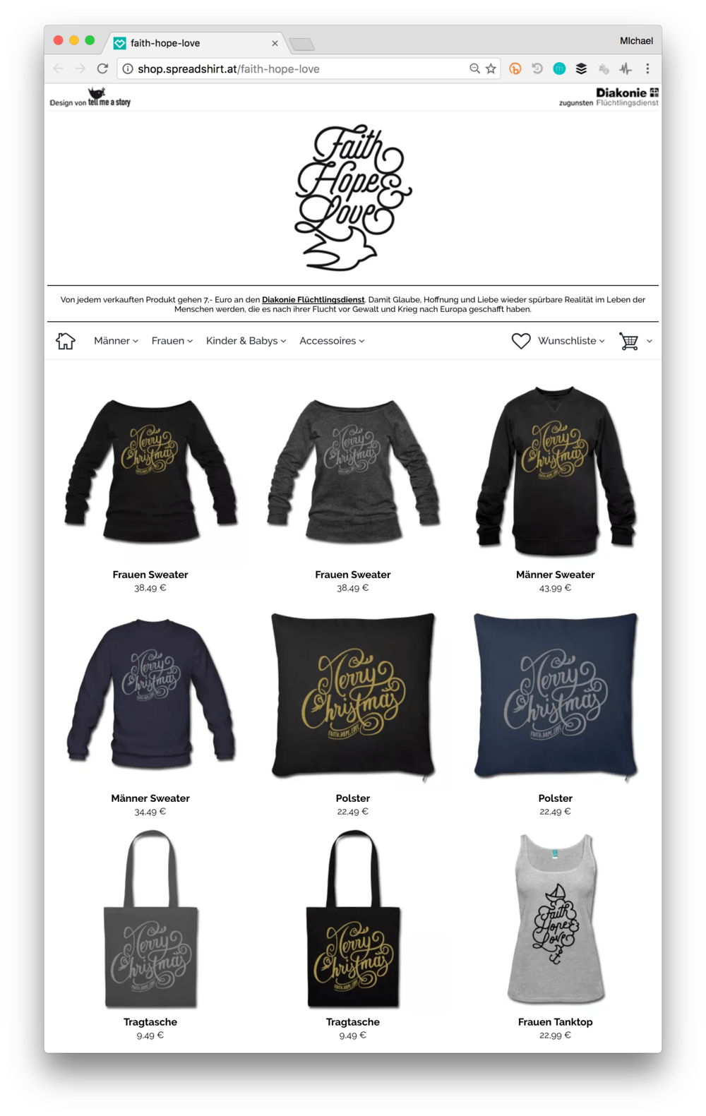 Faith-Hope-Love Webshop Screenshot mit Produkten