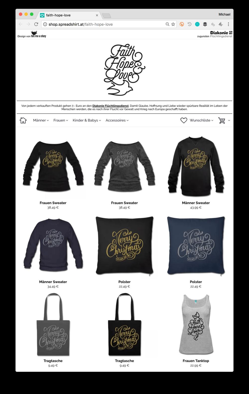 Faith-Hope-Love Webshop Screenshot mit Produkten
