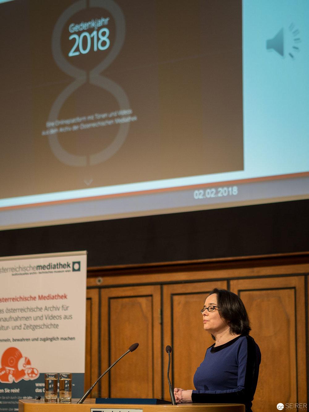 """Dr. Gabriele Fröschl, Leitung Österreichische Mediathek: """"Genug gedacht?"""" Präsentation der Onlineplattform mit Tönen und Videos"""