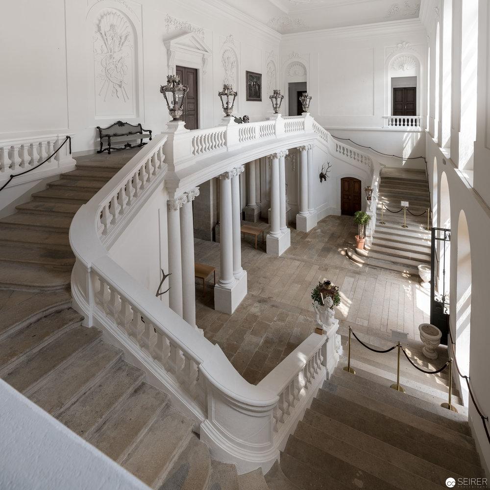 Der neu renovierte Eingangsbereich im Schloss Eckartsau