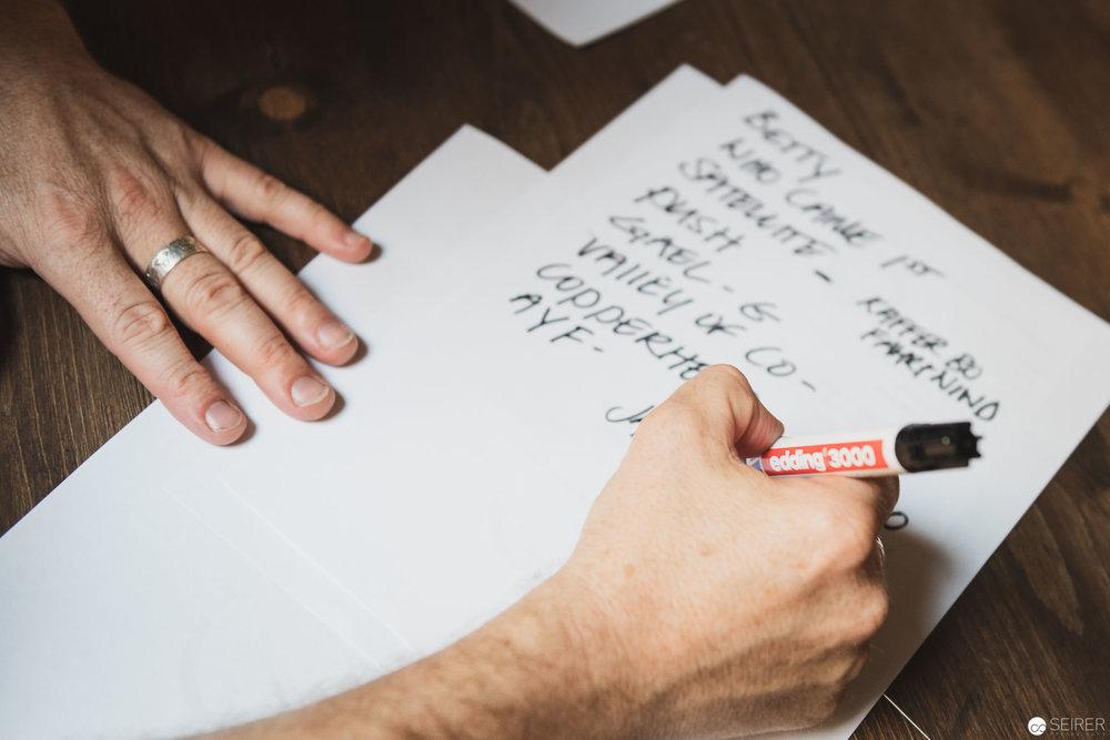 Shane schreibt die Setlist für das Konzert