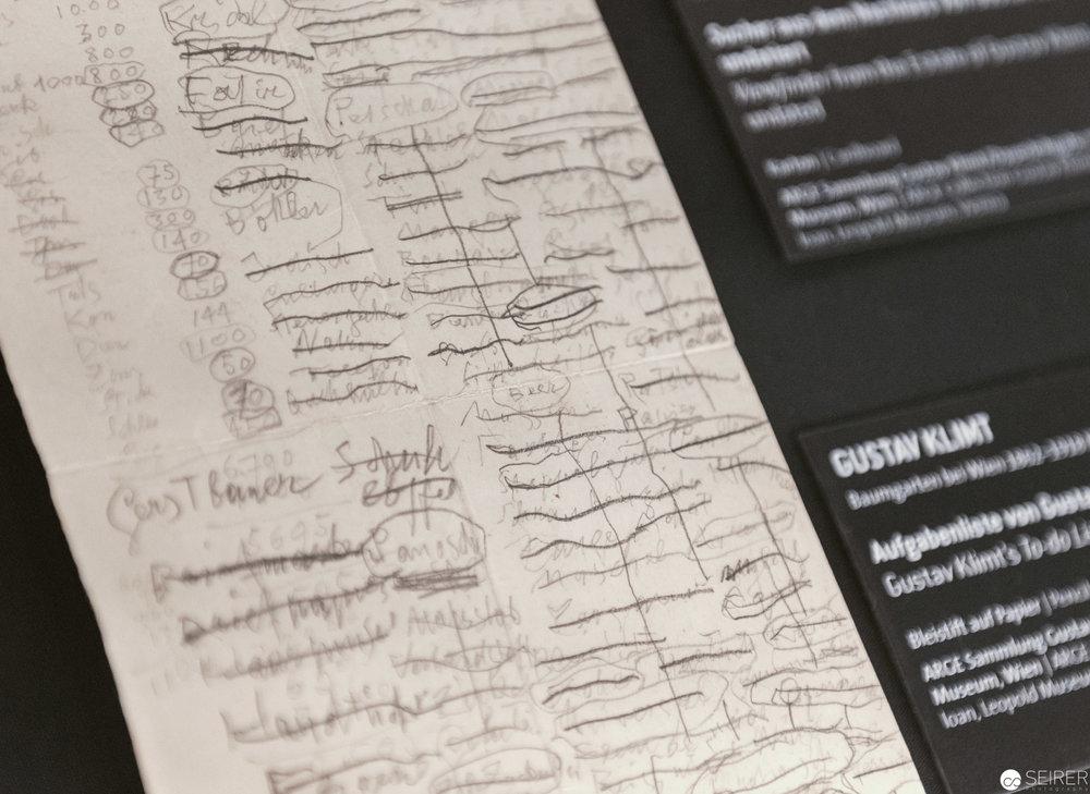 Todo-Liste von Gustav Klimt, Wien 1900, Leopold Museum
